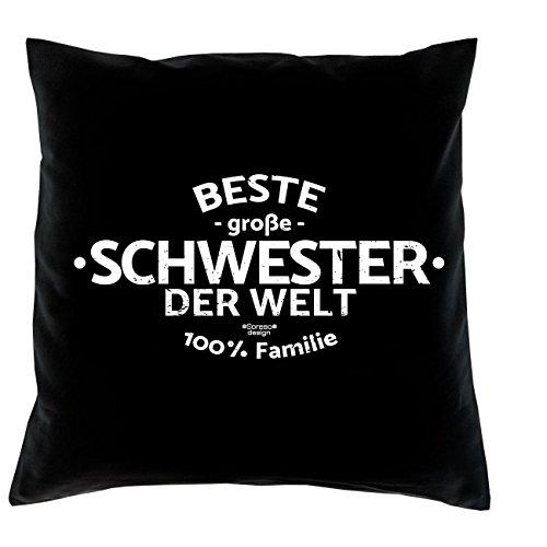 Beste große Schwester der Welt :: Kissen mit Füllung und Urkunde :: Weihnachtsgeschenk Geschenkidee Farbe: schwarz Sachen Für Schwestern
