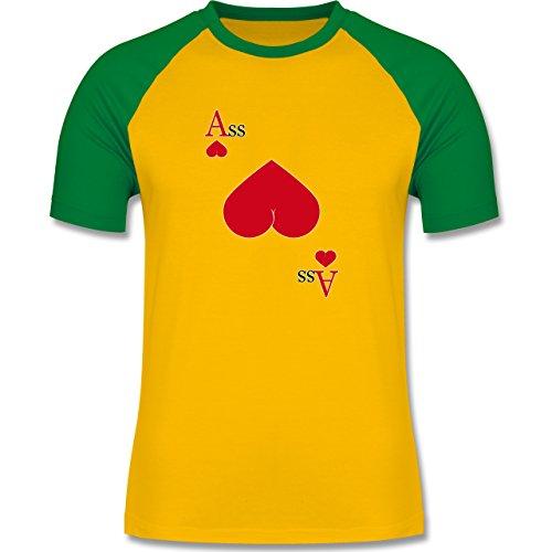 Shirtracer Statement Shirts - Herz Ass - Herren Baseball Shirt Gelb/Grün