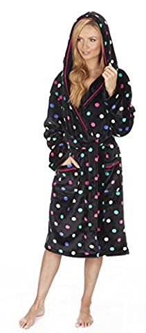 Ladies Womens Super Soft Hooded Fleece Spot Dressing Gown Robe Nightwear Winter