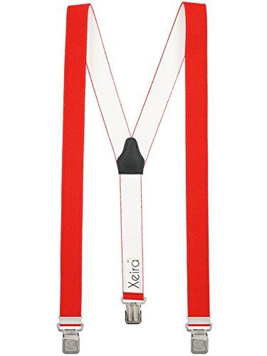 Bretelles de Haute qualité pour Femmes/Homme avec 3 Extra Fort Clips dans 15 Couleurs - Fabriqué en Allemagne - avec XL Aigle Clip (Rouge)