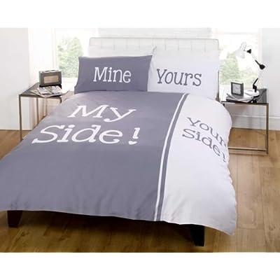 Juego de edredón King juego de cama mi lado tu lado gris blanco