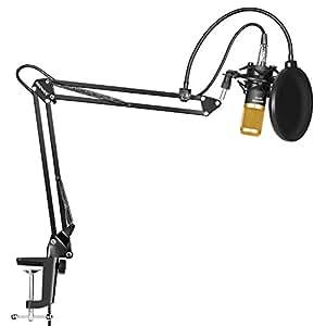 Neewer NW-800 Microfono a Condensatore Professionale per Trasmissioni e Registrazioni in Studio & NW-35 Braccio a Forbici Asta di Sospensione Regolabile per Microfono con Supporto Anti-vibrazione e Serratura da Tavolo