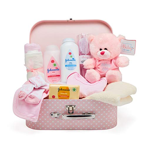 Baby Box Shop - Cesta regalo bebé niña para baby shower con todo lo esencial para bebes recién nacidos con osito de peluche y caja de recuerdos rosa
