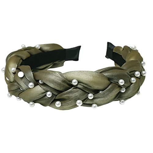 LLLucky Geflochtenes Haarband Stirnband Loop Kopfbedeckung Perlen Einfarbig Damen Mädchen Army Green Twist Stirnband