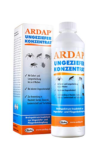 ARDAP Ungeziefer Konzentrat 500ml - zur Herstellung von bis zu 50L Ungezieferspray, gegen Fliegen, Stechfliegen, Motten, Mücken, Wespen, Silberfische, Bettwanzen etc.