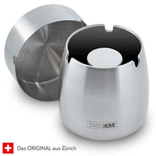 SWISSHOME - Der geruchsdichte Aschenbecher mit Deckel für Drinnen und Draußen - Das ORIGINAL in Premium Geschenkbox für anspruchsvolle Genießer - Grösse M