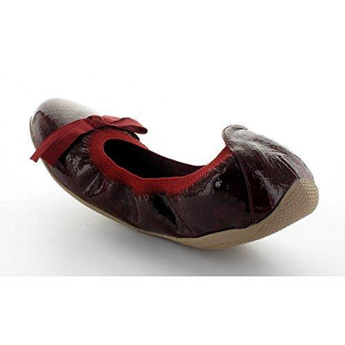 Les P'tites Bombes ballerina Ella, motivo: smalto, colore: bordeaux - rosso