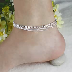 CXLD Chic Women's 4 Layers Crystal Beads Sandal Beach Anklet Ankle Chain Foot Jewelry Laeqsou01