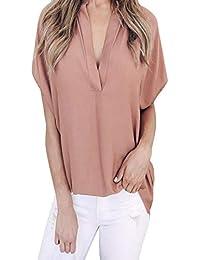 JiaMeng Top a Manica Lunga da Donna - Sezione Lunga del V-Collo di Colore  Solido Camicetta Maglietta della Camicia del Cotone del Collo… 01b899e6a7c