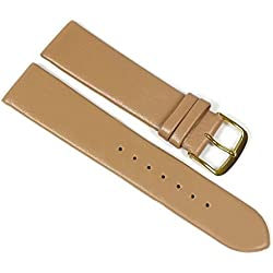 Berlin Replacement Watch Strap Calf Leather Band Brown Beige 23207G Bridge Width: 12 mm
