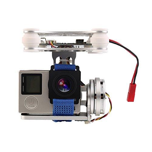 XCSOURCE® 2 Achsen Brushless Kardan Kamera halterung mit Controller Motor RTF für GoPro 3/3 + / 4 DJI Phantom 1/2 Luftaufnahme (Silber) RC440 - Gummi Motor Halterung