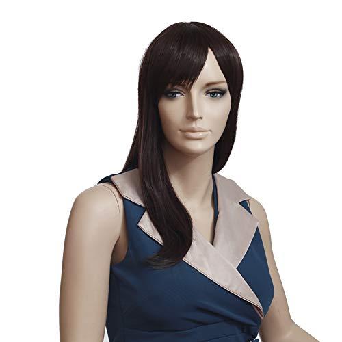 Damen Perücken Mode Ombre Hitzebeständige Synthetische Gerade Perücke Natürlich Aussehende Party Täglich Natürliche,Darkbrown,17inches