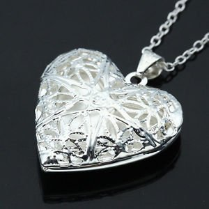 SLB Works Brand New Love Heart Pendant Picture Frame Locket Hollow Women Chain Necklace Jewelry Gift