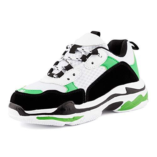Fusskleidung Damen Herren Sneaker Neon Sportschuhe Plateau Sohle Unisex Freizeit Runners Schuhe Weiß Schwarz Grün EU 38 Gucci White Sneakers