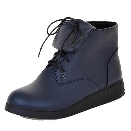 agoolar-womens-low-top-lace-up-soft-material-low-heels-round-closed-toe-boots-blue-37