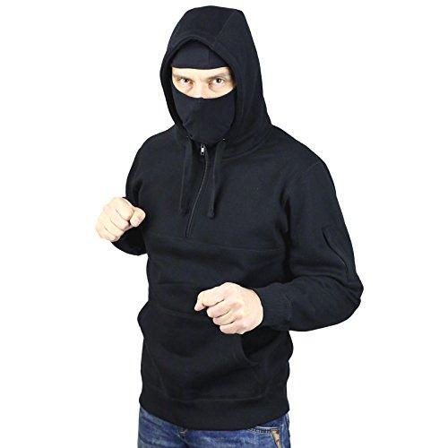 Ninja Kapuzenpullover (No Face No Name Ninja-Hoodie Style Defender mit abnehmbarer Maske schwarz)