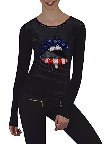 S&LU angesagtes Damen-Langarmshirt mit Samt-Front und teilweise Strassapplikationen verschiedene Modelle Größe S-XL UB167