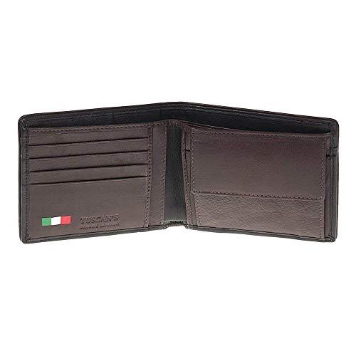 60e9813a0a Portafoglio Uomo nero e marrone con 5 scomparti vera pelle Made in Italy  Tuscan's
