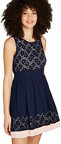 mit Spitze und Color-Block,Cocktailkleid Sommerkleid Partykleid (XL, Navy) ()
