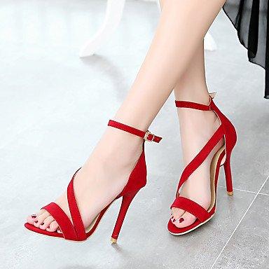 zhENfu Donna Sandali scarpe Club similpelle Estate Casual Stiletto Heel Rosso Nero 3A-3 3/4in Red