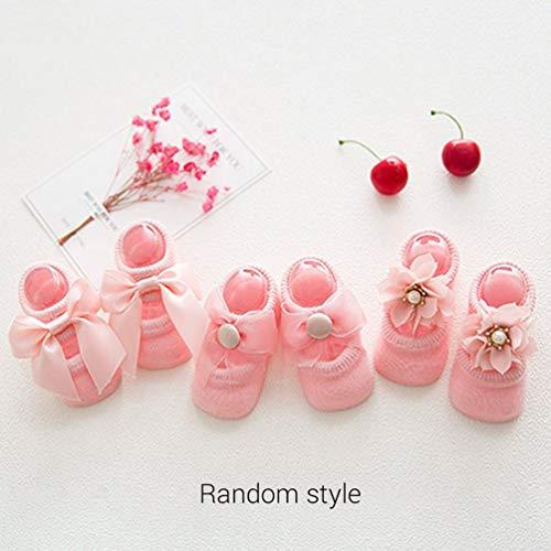 Nihlsen Babysocken 0-24 Monate Kleinkind Mädchen Söckchen Lace Bow Tie Rüschen Trim rutschfeste Baumwolle Crew Socken-Pink-S - Crew Trim Fit Crew Socken
