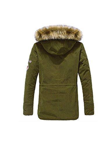 Minetom Hommes Hiver Blouson À Capuche Col De Fourrure Chaud Hoodies Manteau Pardessus Veste D'Hiver Outwear Vert