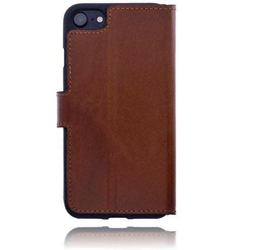 Burkley Apple iPhone 8 / iPhone 7 Hülle | Tasche | Lederhülle | Handyhülle | Ledertasche | Handytasche | Schutzhülle | Flip Cover | Book Case | bruchfester Innenschale | Kartenfach (Schwarz) Sattel Braun