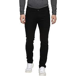 Urbano Fashion Men's Slim Fit Black Stretch Jeans (Size : 28)