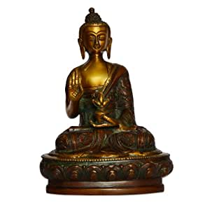 Blessing Buddha with Pot Handmade Brass Statues
