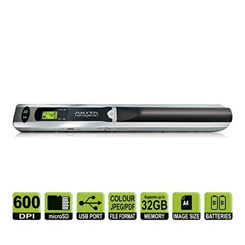 Akita HandyScan AHS049Escáner de mano inalámbrico, portátil, de color, con resolución de escáner variable, incluye tarjeta de memoria de 4GB, color: gris/negro
