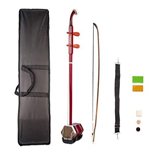 B Blesiya 1 Satz 2 String Erhu traditionelle chinesische Musikinstrument inkl Bogen, Aufbewahrungsbox - Rot