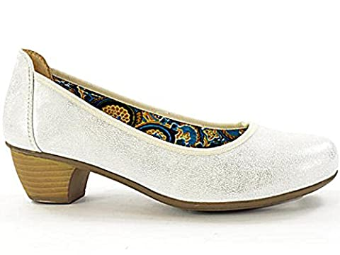 Ladies 220866 Coconel Faux Leather Low Mid Block Heel Slip On Casual Fashion Court Shoes Size 3-9 (UK 6, Mottled