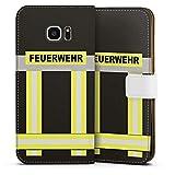 DeinDesign Samsung Galaxy S7 Edge Tasche Leder Flip Case Hülle Feuerwehr Feuerwehrmann Firefighter