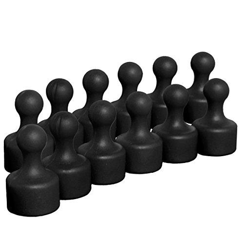 12 schwarze sehr starke Neodym Kegelmagnete   Ø 12 mm   19,5 mm hoch   Magnete mit superstarkem 9x6 mm N35 Neodymkern für Kühlschrank Pinnwand Magnettafel   geringerer Halt auf Glasmagnettafeln 6 X 9 Magneten