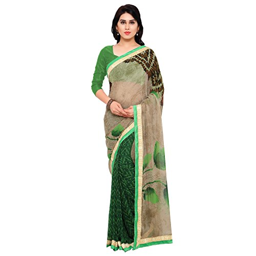 Florence Beige & Green Chiffon Embroidered Saree with Blouse  available at amazon for Rs.784