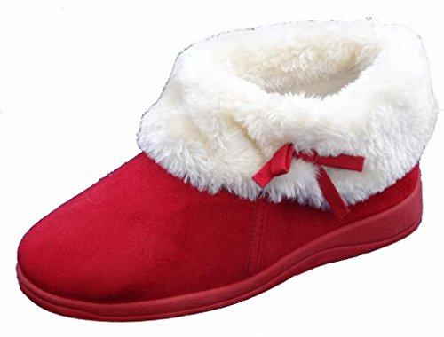 Donna Dunlop Bessie Pelliccia Finta Con Colletto Alla Caviglia Pantofola A Stivale - Inverno Rosso, 39 EU
