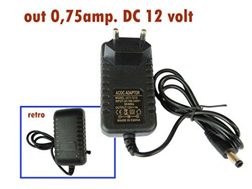 Alimentatore 0,75amp. input AC 100-240volt 50-60Hz, output 12volt DC con protezione termica