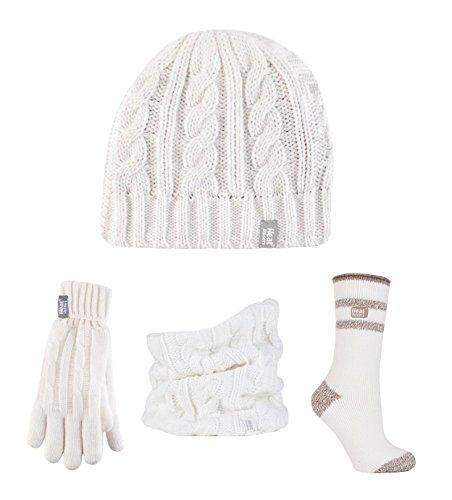 Heat Holders - Ensemble bonnet, écharpe et gants - Femme Cream / Windermere