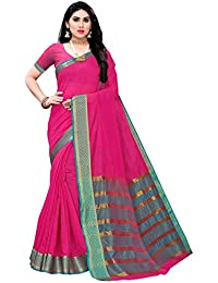 Anni Designer Women's Pink Color Cotton Silk Saree With Blouse Piece (SOFIYA PINK_Free Size)