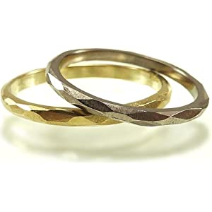 Zarter Weißgoldring facettiert unisex - Beisteckring, Stapelring, Verlobungsring - handgefertigt by SILVERLOUNGE