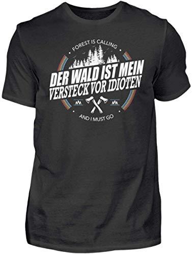 HOLZBRàœDER Der Wald ist Mein Versteck vor Idioten Holz T-Shirt perfekt für die Arbeit mit der Kettensäge, Schwarz, XL