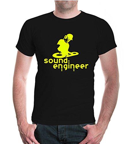 buXsbaum® T-Shirt Sound Engineer Black-Neonyellow