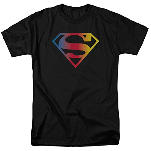 Superman - - Männer Gradient Logo T-Shirt in Schwarz Black