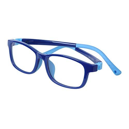 Kinder Brille Blaulichtfilter Ohne Stärke UV Blockieren TR90 Brillengestell für Jungen Mädchen + Anti Rutsch Brillenband + Brillenetui