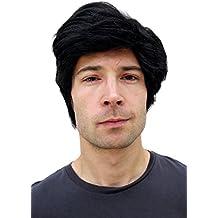 WIG ME UP PW0174-P103 - Peluca negra para hombre, de pelo corto y raya a un lado