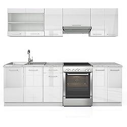 Serina Küchenzeile 240 cm - 7 Schrank-Module frei kombinierbar - Küche Küchenblock Einbauküche – Hochglanz (Weiß Hochglanz)