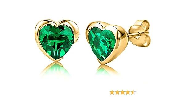 ByJoy Damen Ohrstecker 925 Sterling Silber Herzschliff Grün Synthetischer Smaragd