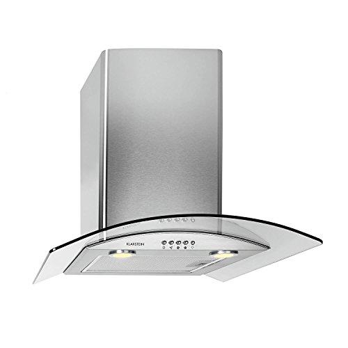 Klarstein GL90WSB Cappa Aspirante con rivestimento in vetro e acciaio inox (90 cm, potenza di aspirazione pari a 700 m³/h, 3 livelli di potenza, design accattivante) - argento/vetro scuro