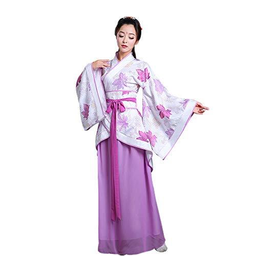 DAZISEN Damen Altertümlich Kostüm - Traditionelle chinesische Kleidung Hanfu Tang Anzug Kleid, Violett/S