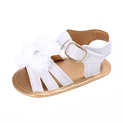 Zolimx Toddler Newborn Crib Shoes Prewalker sandals girl Anti Slip Flowers pearl Princess Baby Shoes (6~12 Month, White)